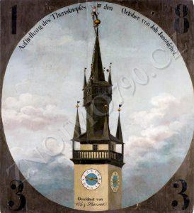 """Obrázek """"Střelecký terč zachycující události na konci oprav radniční věže v roce 1833"""" je ze sbírek Jihomoravského muzea ve Znojmě."""